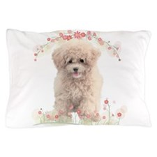 Poodle Flowers Pillow Case