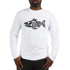 Salmon Native American Design Long Sleeve T-Shirt