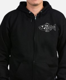 Salmon Native American Design Zip Hoodie