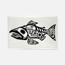 Salmon Native American Design Rectangle Magnet