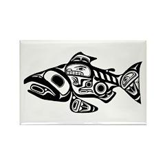 Salmon Native American Design Rectangle Magnet (10