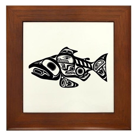 Salmon native american design framed tile by brainburst for Native american tile designs