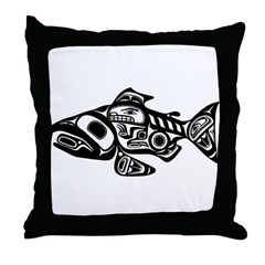 Salmon Native American Design Throw Pillow