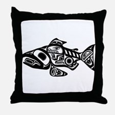 Salmon Native American Design Throw Pillow