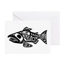 Salmon Native American Design Greeting Cards (Pk o