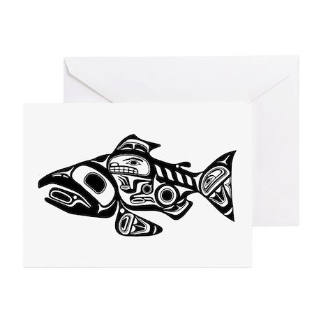 Salmon Native American Design Greeting Cards (Pk o
