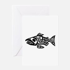 Salmon Native American Design Greeting Card