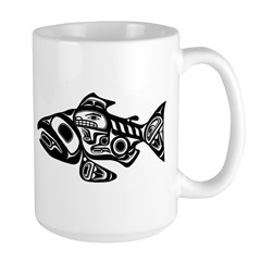 Salmon Native American Design Large Mug