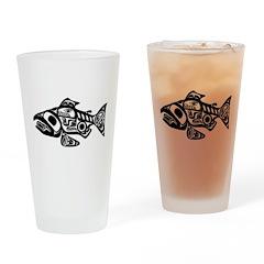 Salmon Native American Design Drinking Glass