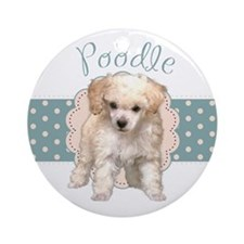 Poodle Puppy Ornament (Round)
