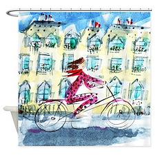 Shower Curtain: Paris Woman on Bike