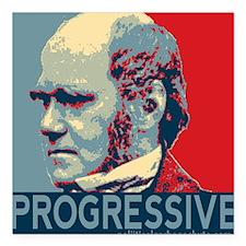 "Progressive - Darwin Square Car Magnet 3"" x 3"""