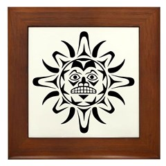 Sun Native American Design Framed Tile