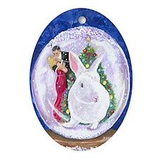 White rabbit Christmas Ornament (Oval)