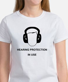 Hearing Protection with Text Black Women's T-Shirt