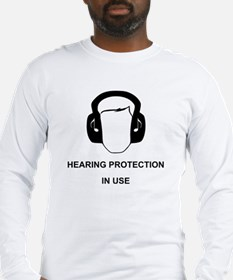Hearing Protection with Text Black Long Sleeve T-S