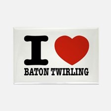I love Baton Twirling Rectangle Magnet (10 pack)