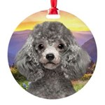 Poodle Meadow Round Ornament