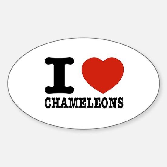 I love Chameleons Sticker (Oval)