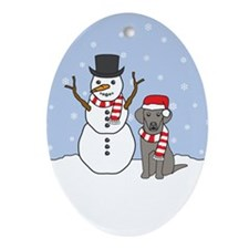 Weimaraner Winter Oval Ornament