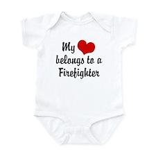 My Heart Belongs to a Firefighter Infant Bodysuit