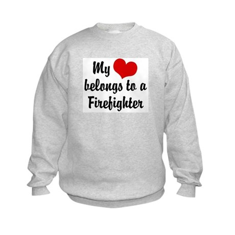 My Heart Belongs to a Firefighter Kids Sweatshirt