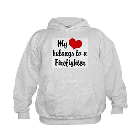 My Heart Belongs to a Firefighter Kids Hoodie