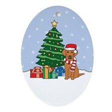 Vizsla Christmas Oval Ornament