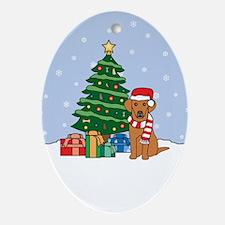 Vizsla Christmas Oval Ornament