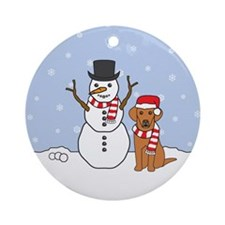 Vizsla Winter Round Ornament