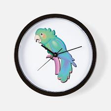 Pretty Blue Parrot Wall Clock