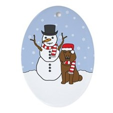 Brown Poodle Winter Oval Ornament