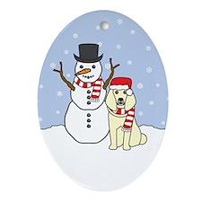 Cream Poodle Winter Oval Ornament