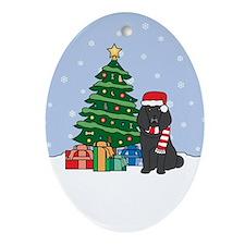 Black Poodle Christmas Oval Ornament