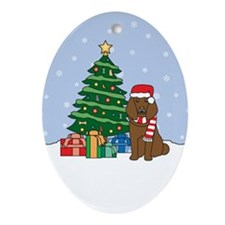 Brown Poodle Christmas Oval Ornament