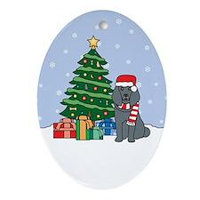 Blue Poodle Christmas Oval Ornament