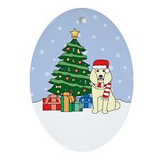 Cream Poodle Christmas Oval Ornament