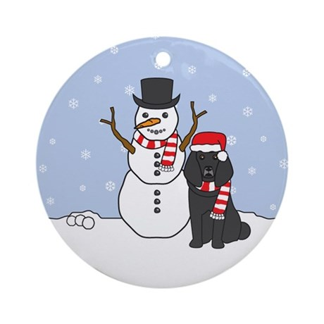 Black Poodle Winter Round Ornament