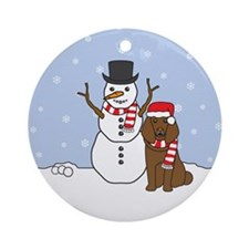 Brown Poodle Winter Round Ornament