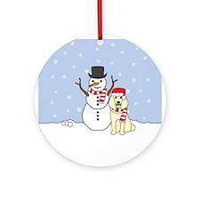 Cream Poodle Winter Round Ornament