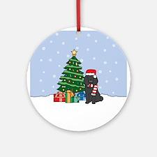 Black Poodle Christmas Round Ornament