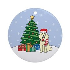 Cream Poodle Christmas Round Ornament