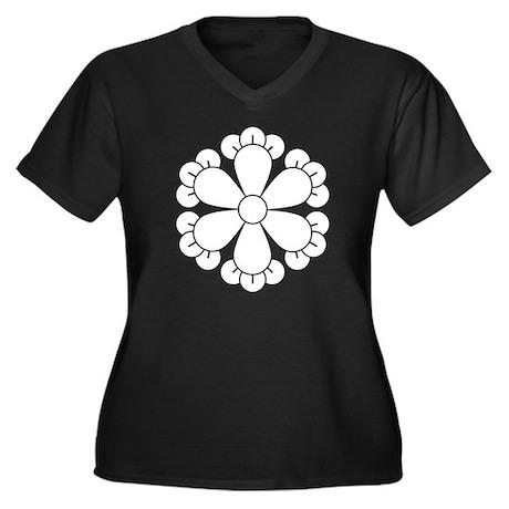 Six cloves Women's Plus Size V-Neck Dark T-Shirt