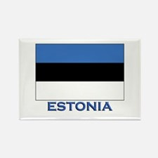 Estonia Flag Gear Rectangle Magnet