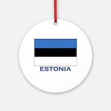 Estonia Flag Gear Ornament (Round)