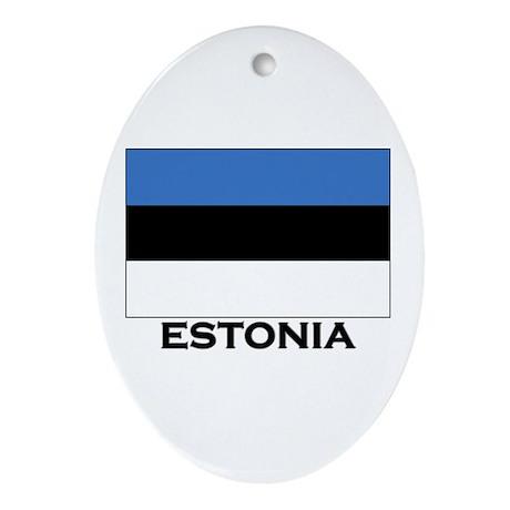 Estonia Flag Merchandise Oval Ornament