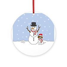 Beagle Winter Round Ornament