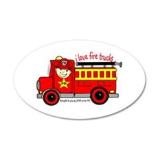 FIRE TRUCK - LOVE TO BE ME 22x14 Oval Wall Peel