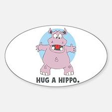 Hug a Hippo Oval Decal
