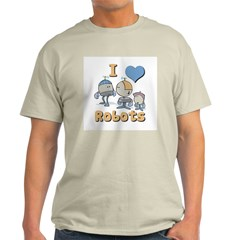 I Heart (love) Robots Ash Grey T-Shirt